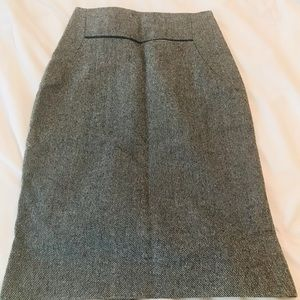 Leather-trimmed tweed pencil skirt